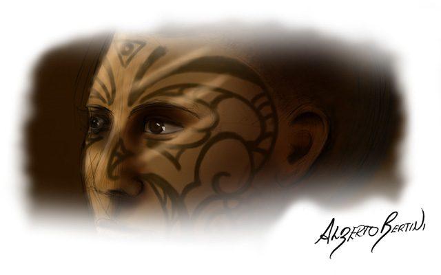 Disegno di un viso tatuato Maori - Feel No Pain