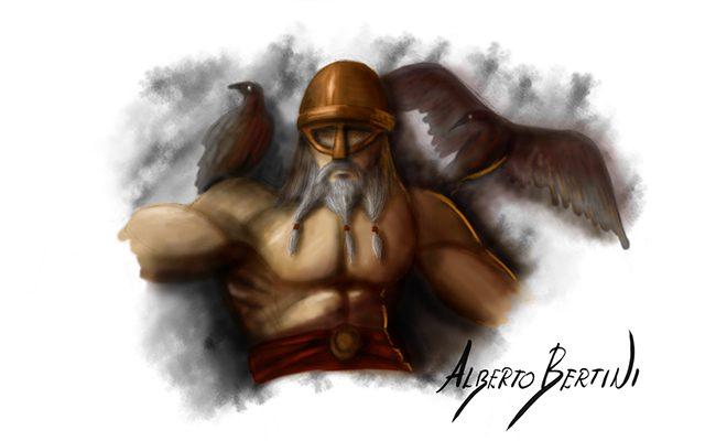 Disegno raffigurante Odino il Dio Corvo - Feel No Pain
