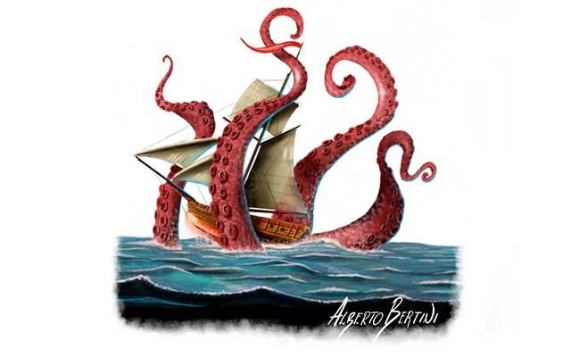 Kraken con tentacoli che circonda una nave