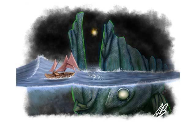 Diesgno del Kraken Hafgufa come mostro marino