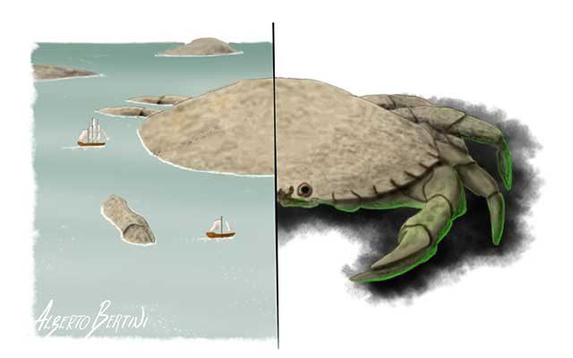 Disegno del Kraken raffigurato come granchio