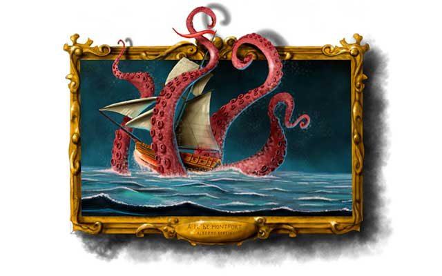 Disegno di un kraken con tentacoli che circonda una nave