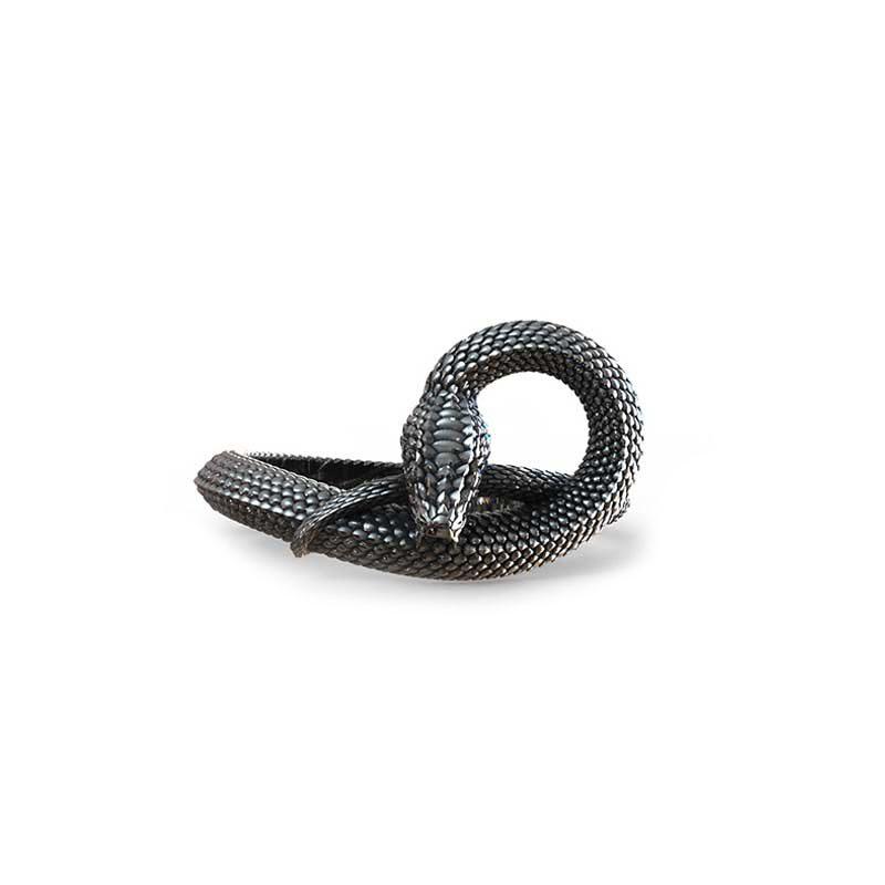 Anello serpente uroboro in argento 925 su sfondo bianco e vista frontale