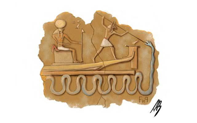 Disegno di un geroglifico egizio con serpenti marini- Feel No Pain