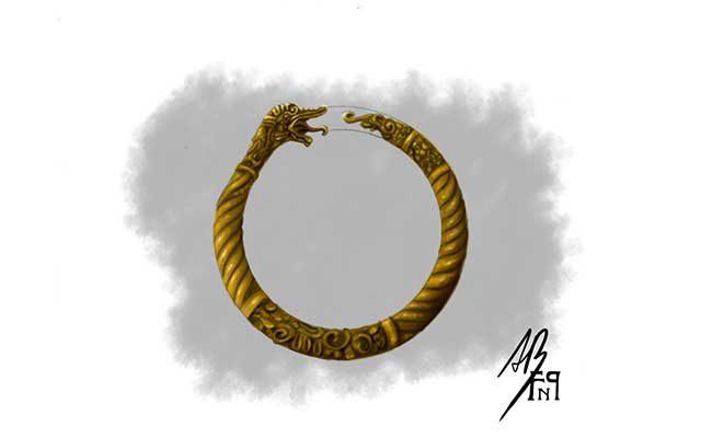 Disegno di un bracciale norreno con serpente che si morde la coda - Feel No Pain