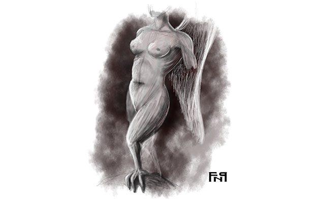 Disegno di una sirena greca - Feel No Pain