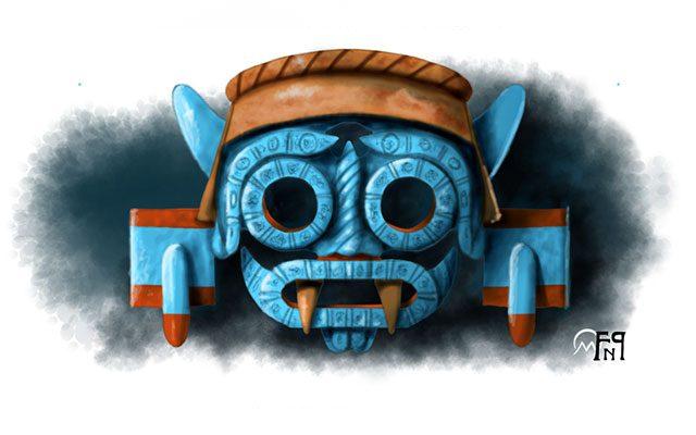 Scultura raffigurante il Dio della pioggia Tlaloc