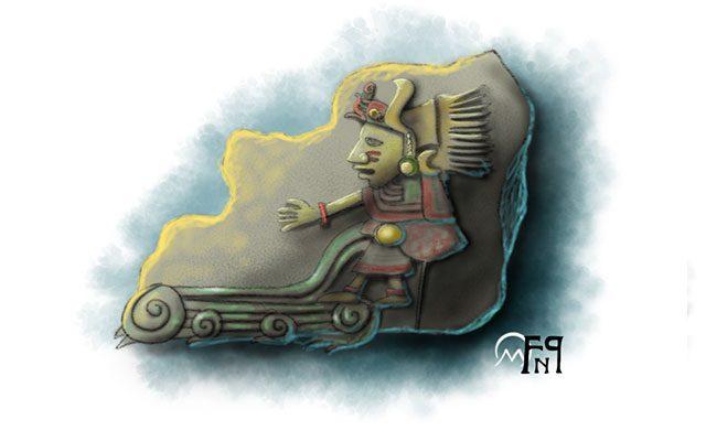 Scultura raffigurante un Dio del Mare Azteco