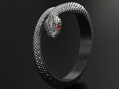 Anello serpente in argento con pietra rossa negli occhi realizzato con render